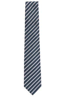 Cravate Tailored à rayures en pure soie: «T-Tie 7,5cm», Bleu foncé