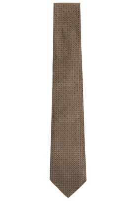 All-over patterned Tailored silk tie: 'T-Tie 7.5 cm', Green