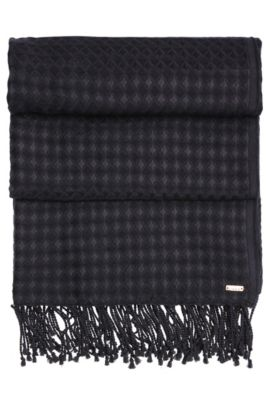Waffled-look scarf with long fringes: 'Napulse', Dark Blue