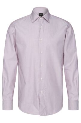 Camicia Tailored regular fit in cotone a disegni sottili: 'T-Stuart', Lilla