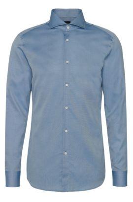 Slim-fit overhemd uit de Tailored-collectie van katoen met een fijn dessin: 'T-Christo', Turkoois