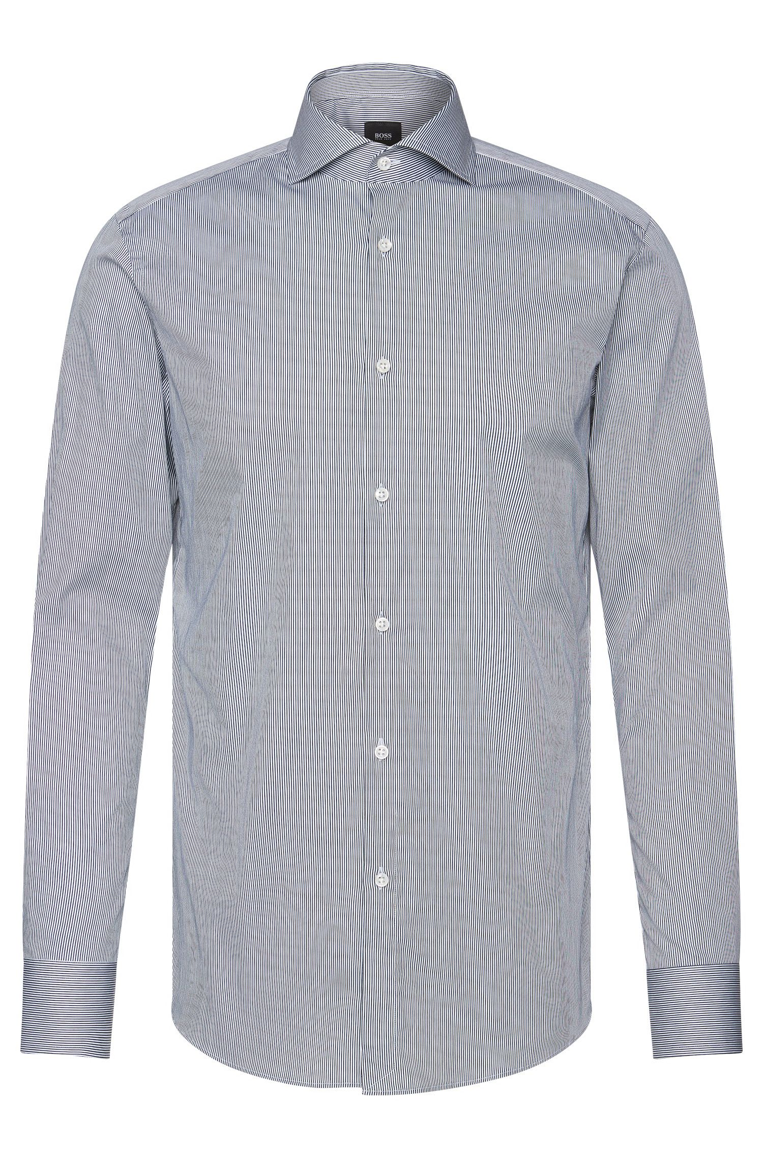 Camicia Tailored slim fit a righe in misto cotone elasticizzato: 'T-Christo'