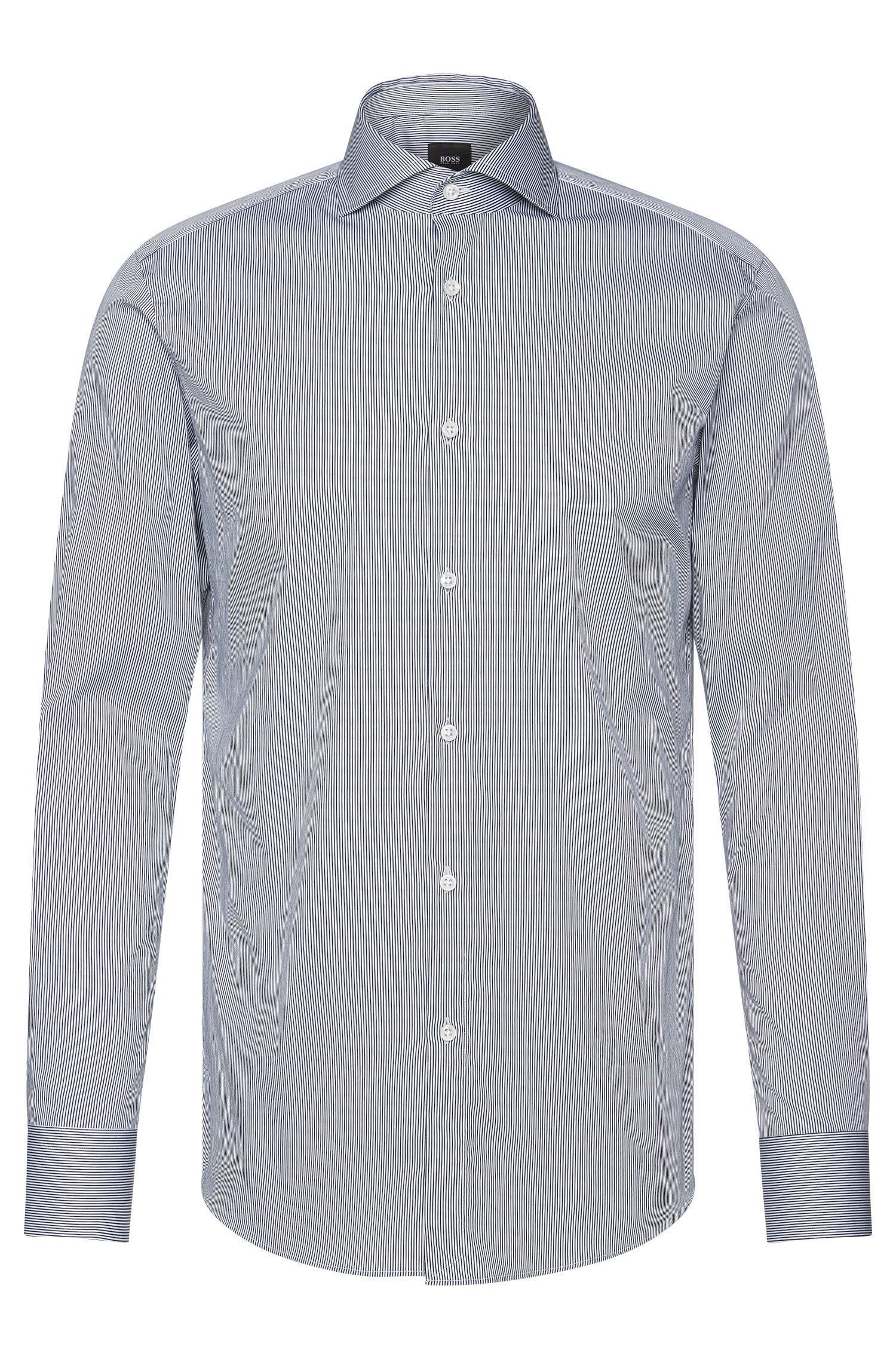 Gestreiftes Slim-Fit Tailored Hemd aus elastischem Baumwoll-Mix: 'T-Christo'