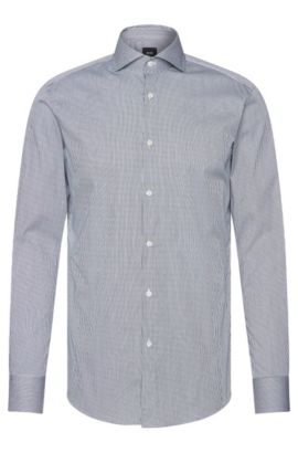 Camicia Tailored slim fit a righe in misto cotone elasticizzato: 'T-Christo', Blu scuro