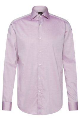 Chemise Regular Fit Tailored à rayures en coton : « T-Stan », Violet clair