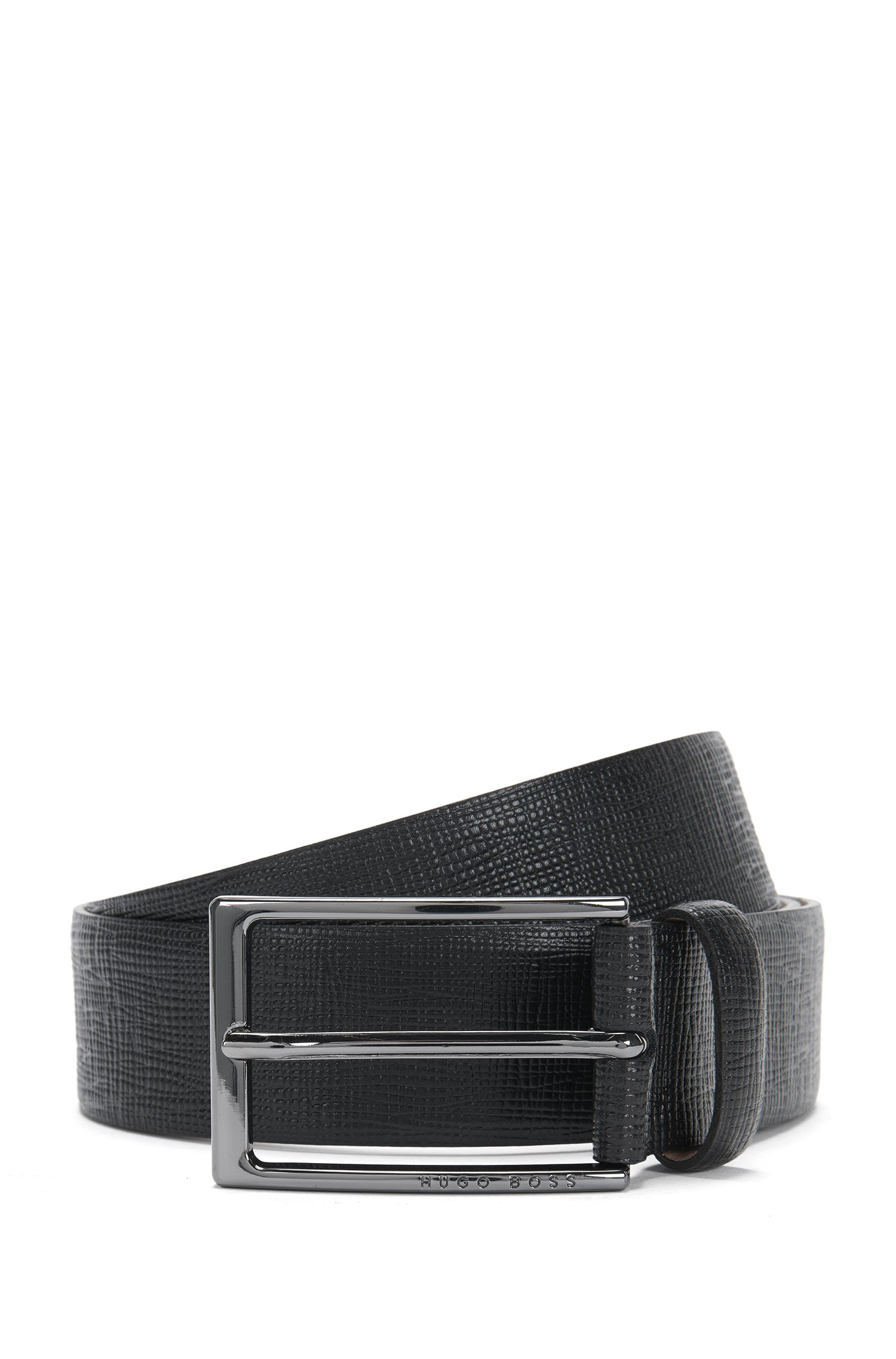Belt in leather with Saffiano embossing: 'Naux-G_Sz35_ltem'