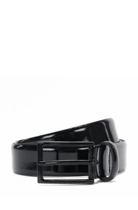 Patent leather belt with pin buckle: 'Cirano_Sz30_pa', Black