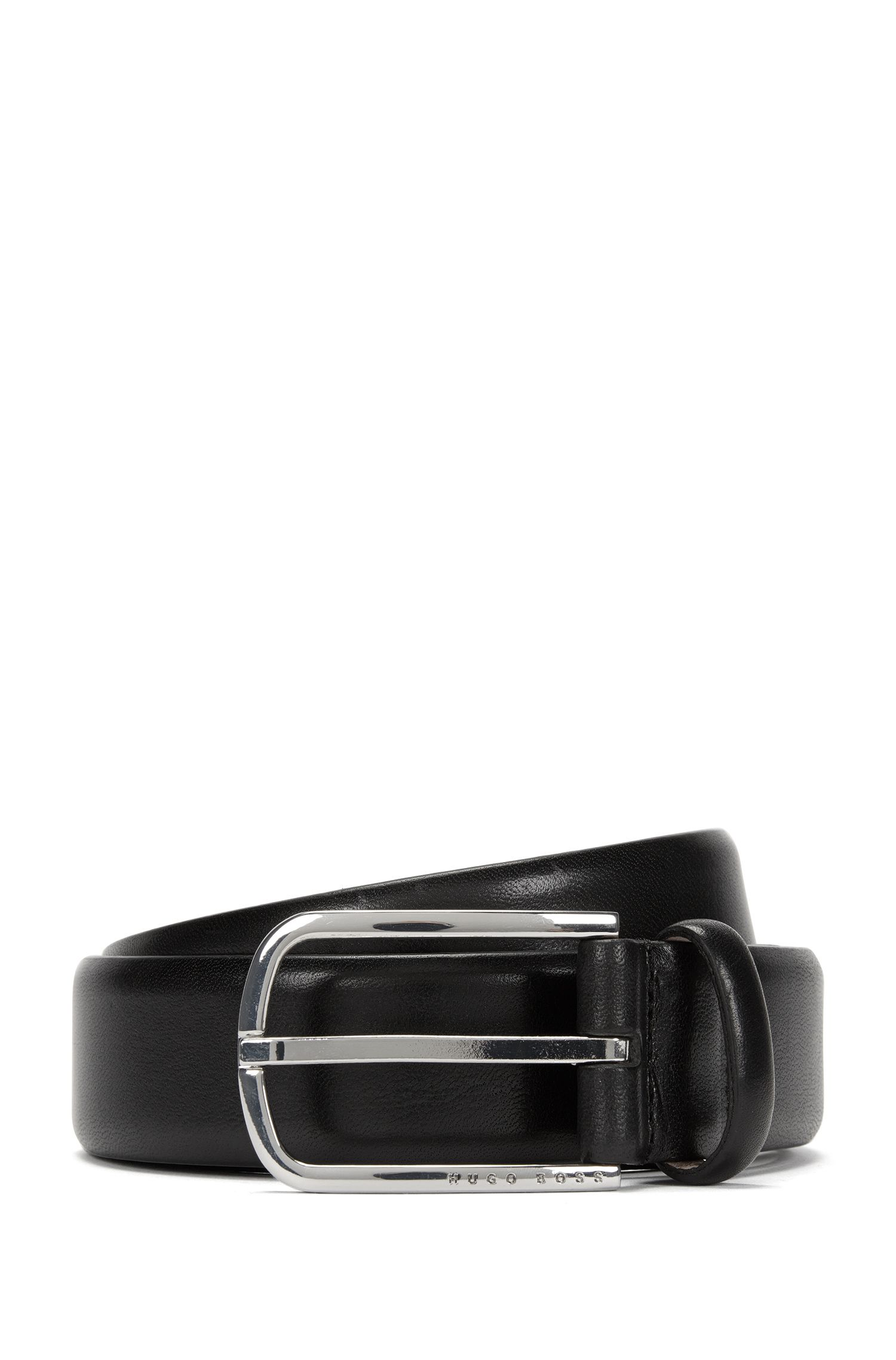 Leather belt with a rounded metal buckle: 'Celino_Sz32_ltpl'