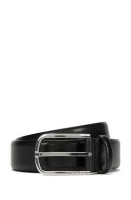 Leather belt with a rounded metal buckle: 'Celino_Sz32_ltpl', Black