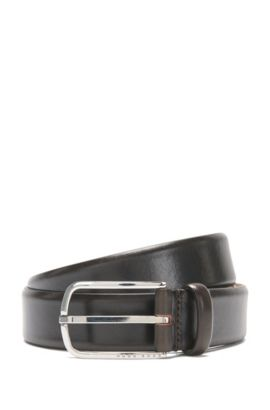 Leather belt with a rounded metal buckle: 'Celino_Sz32_ltpl', Dark Brown