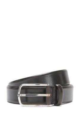 Gürtel aus Leder mit abgerundeter Metallschließe: 'Celino_Sz32_ltpl', Dunkelbraun