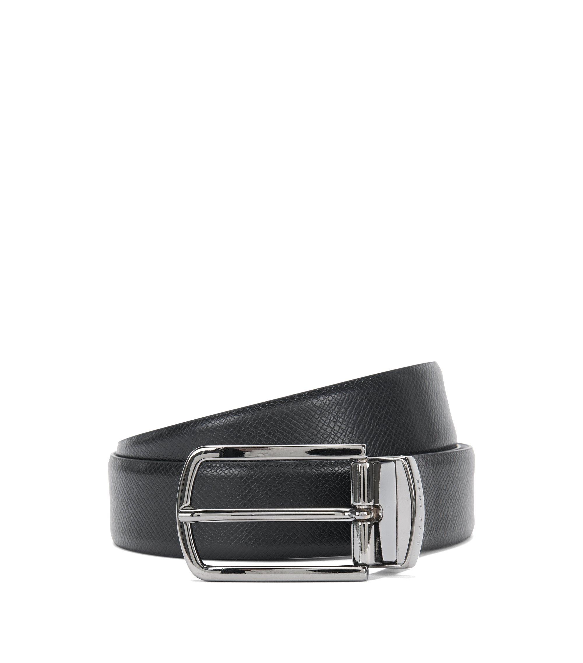 Cintura double-face in pelle con colori e lavorazione mista: 'Ofiro_Or32_ps', Nero