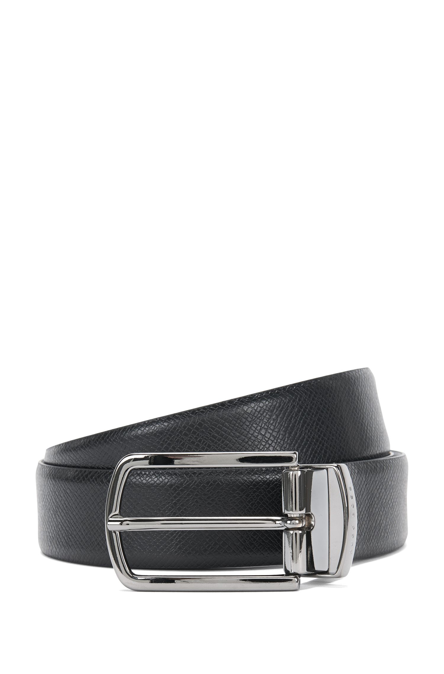 Reversible leather belt in a mixture of colours and textures: 'Ofiro_Or32_ps', Black