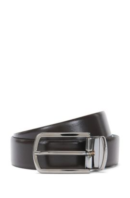 Reversible leather belt in a mixture of colours and textures: 'Ofiro_Or32_ps', Dark Brown