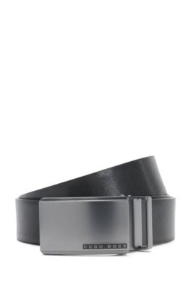 Reversible leather belt with exchangeable clasps: 'Gert_Gb35_ps', Black