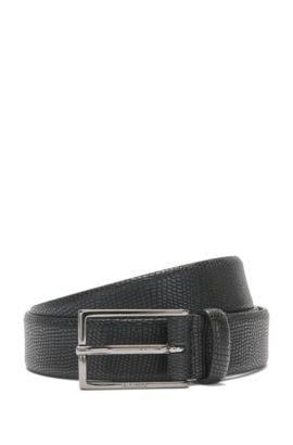 Gürtel aus geprägtem Leder: 'Ganti_Sz30_Item', Schwarz