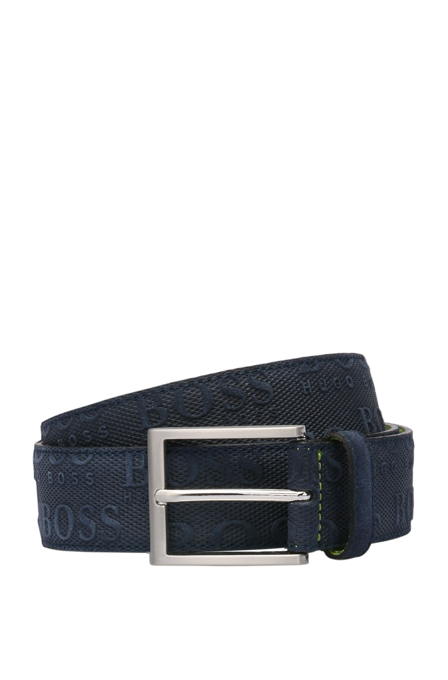 Brushed and embossed leather belt: 'TaloSz35sdem'