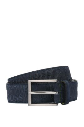 Brushed and embossed leather belt: 'TaloSz35sdem', Dark Blue