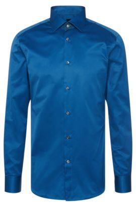 Plain-coloured slim-fit Tailored shirt in cotton: 'T-Clark', Turquoise