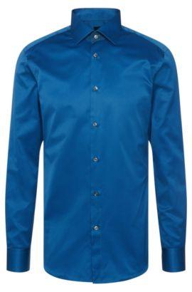Camisa slim fit lisa de sastrería en algodón: 'T-Clark', Turquesa