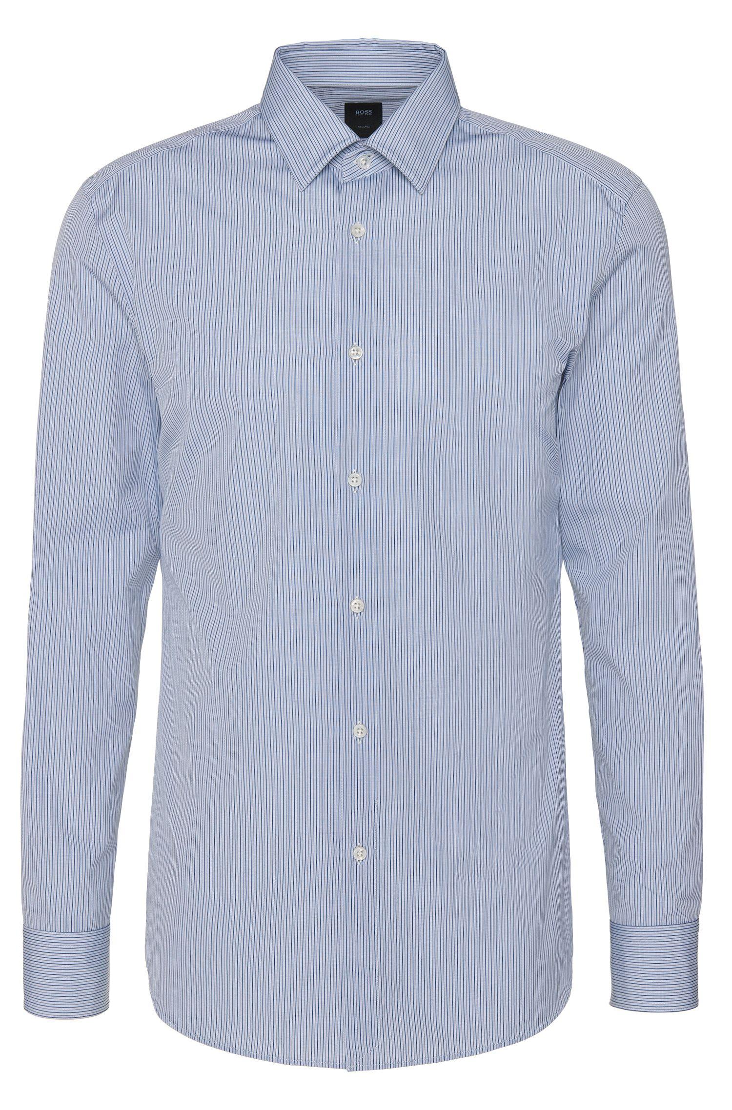 Gestreiftes Slim-Fit Tailored Hemd aus reiner Baumwolle: 'T-Clint'