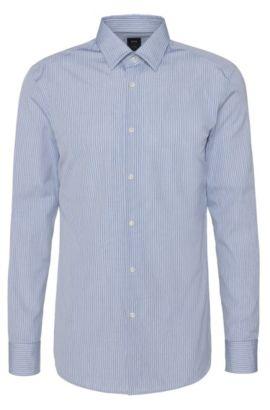 Gestreiftes Slim-Fit Tailored Hemd aus reiner Baumwolle: 'T-Clint', Türkis
