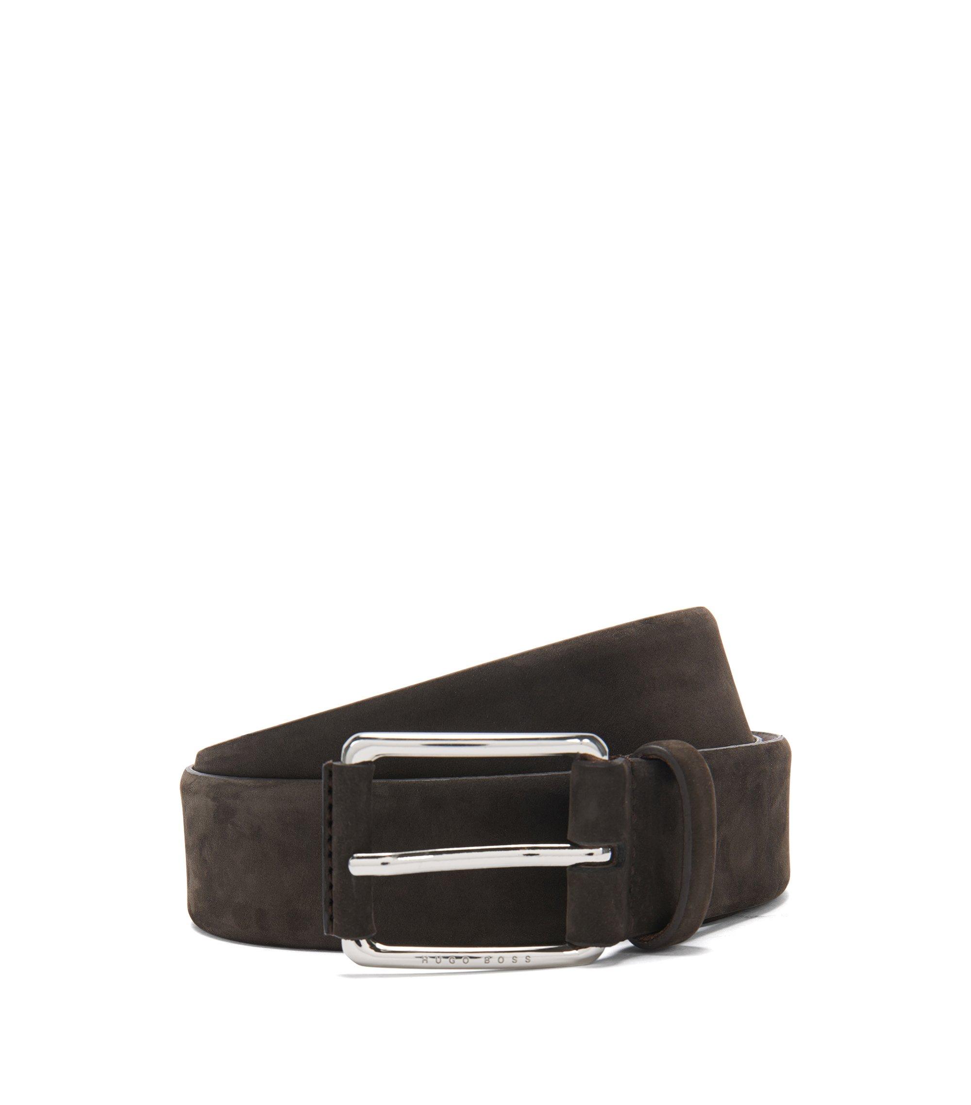 Belt in nubuck leather: 'Catios_Sz35_nupl', Dark Brown