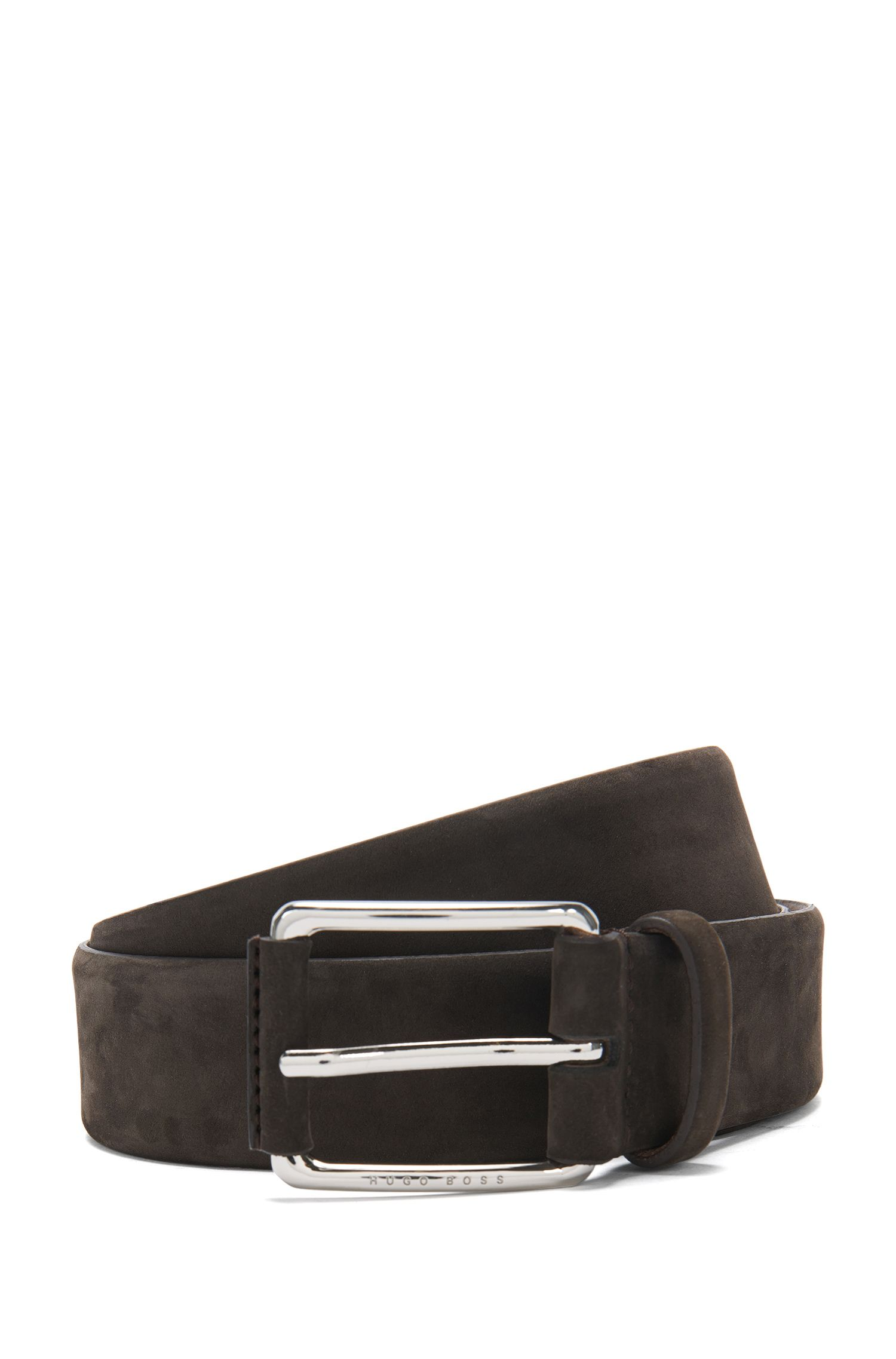 Belt in nubuck leather: 'Catios_Sz35_nupl', Dark Brown