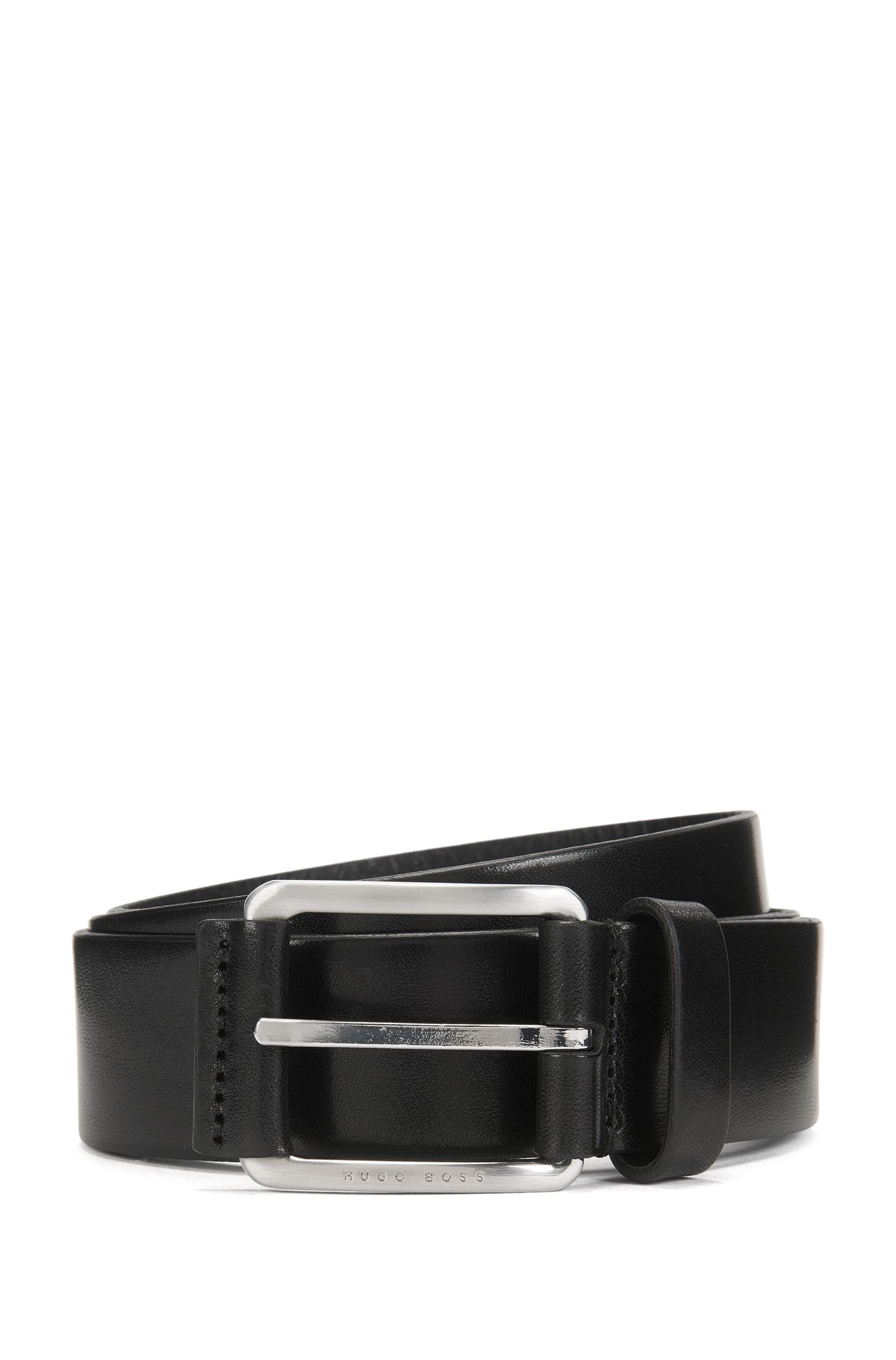 Leather belt with leather-covered buckle , Black
