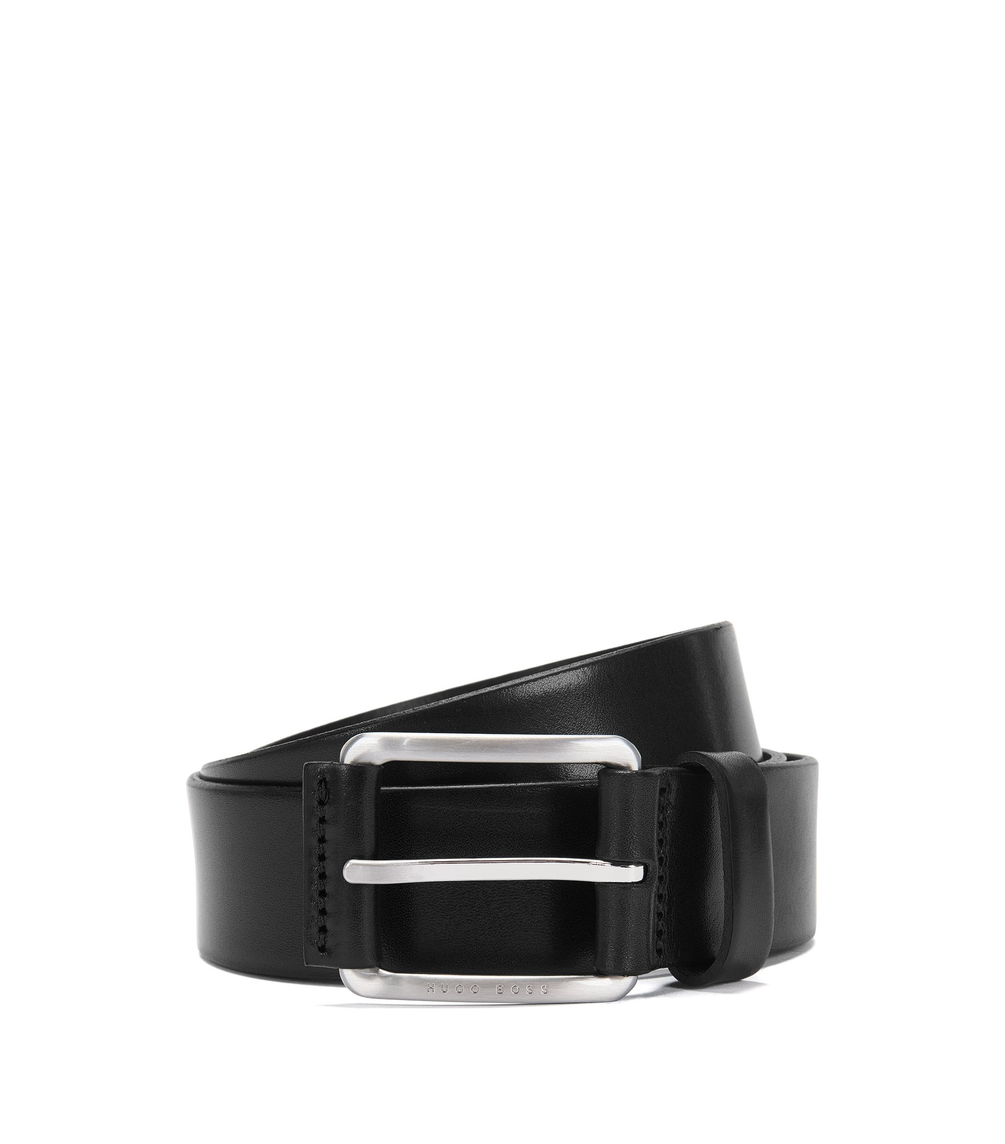 Leather belt with leather-covered buckle , Dark Brown