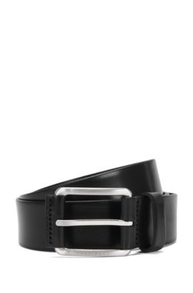 Leather belt with trim on the pin buckle: 'Scar_Sz35_ltpl', Dark Brown