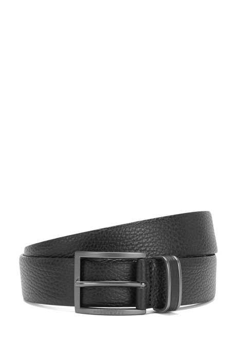 Pin-buckle belt in grained leather, Black