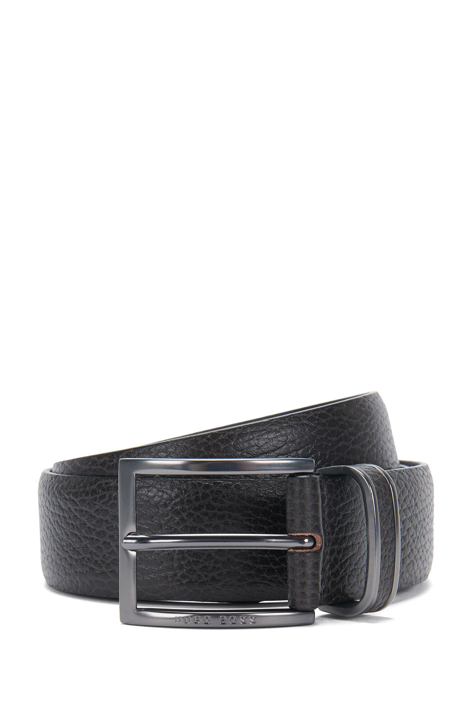 Pin-buckle belt in grained leather