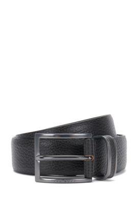 Pin-buckle belt in grained leather, Dark Brown