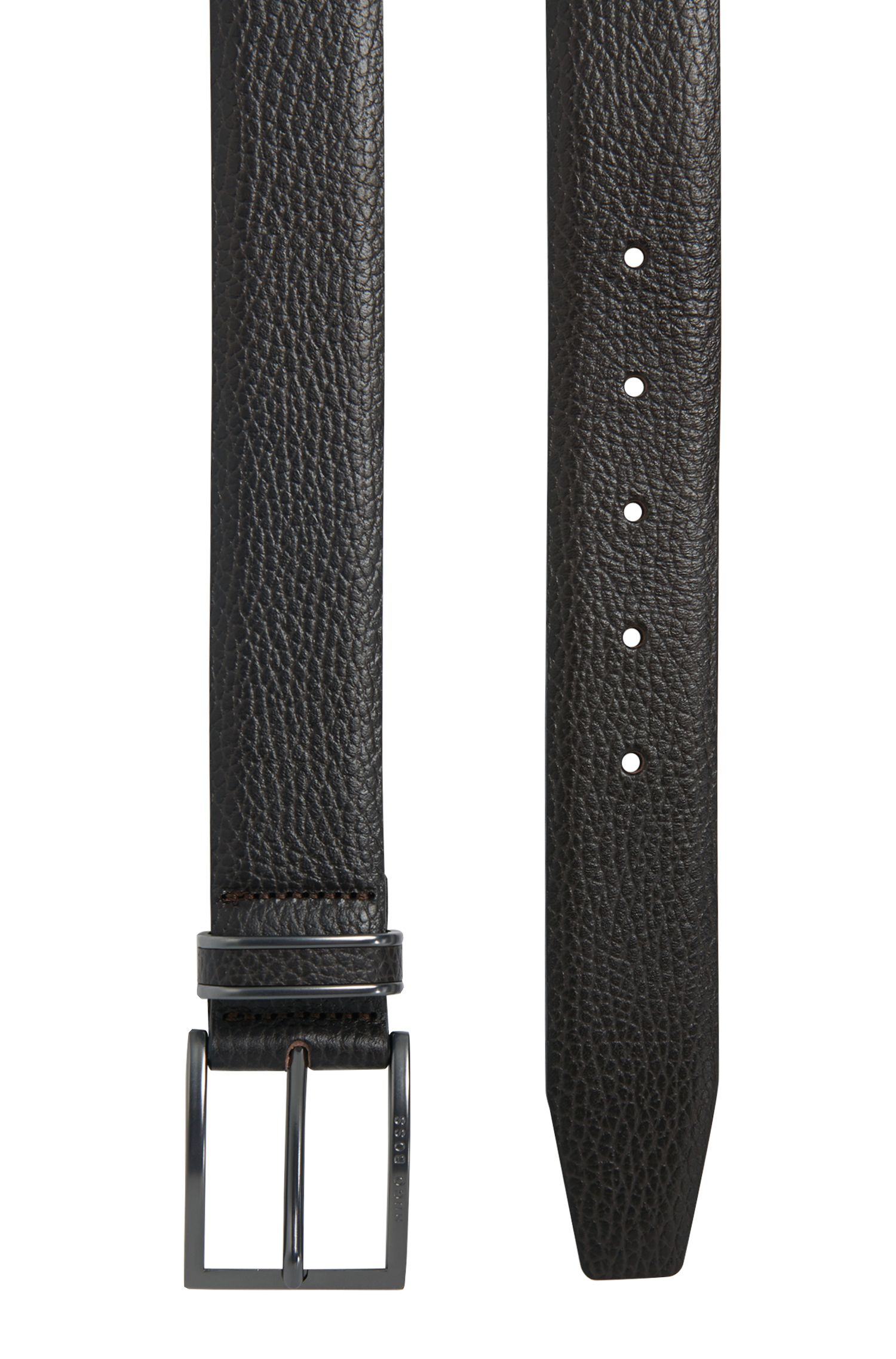 Pin-buckle belt in grained leather, Dark Brown