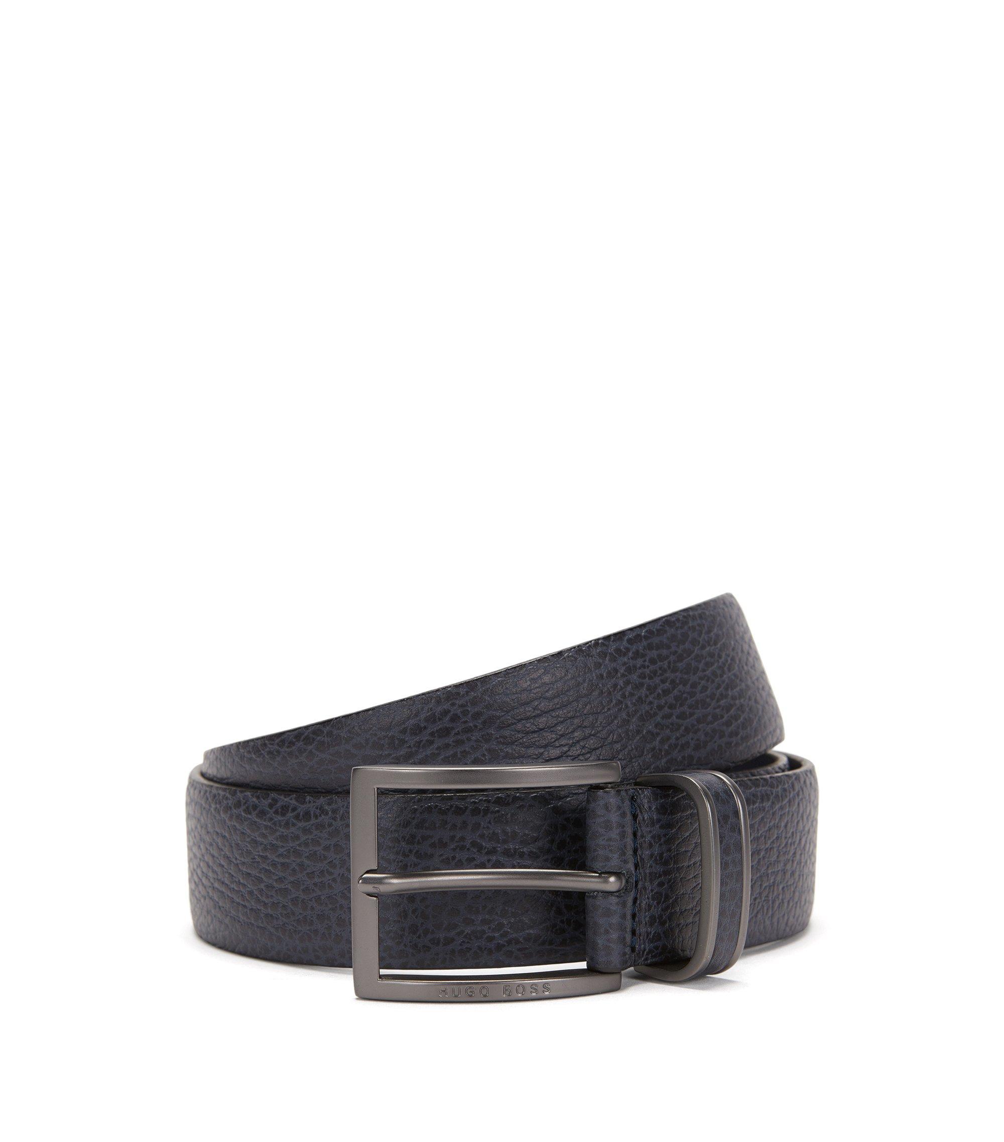Cintura in pelle martellata con fibbia ad ardiglione, Blu scuro