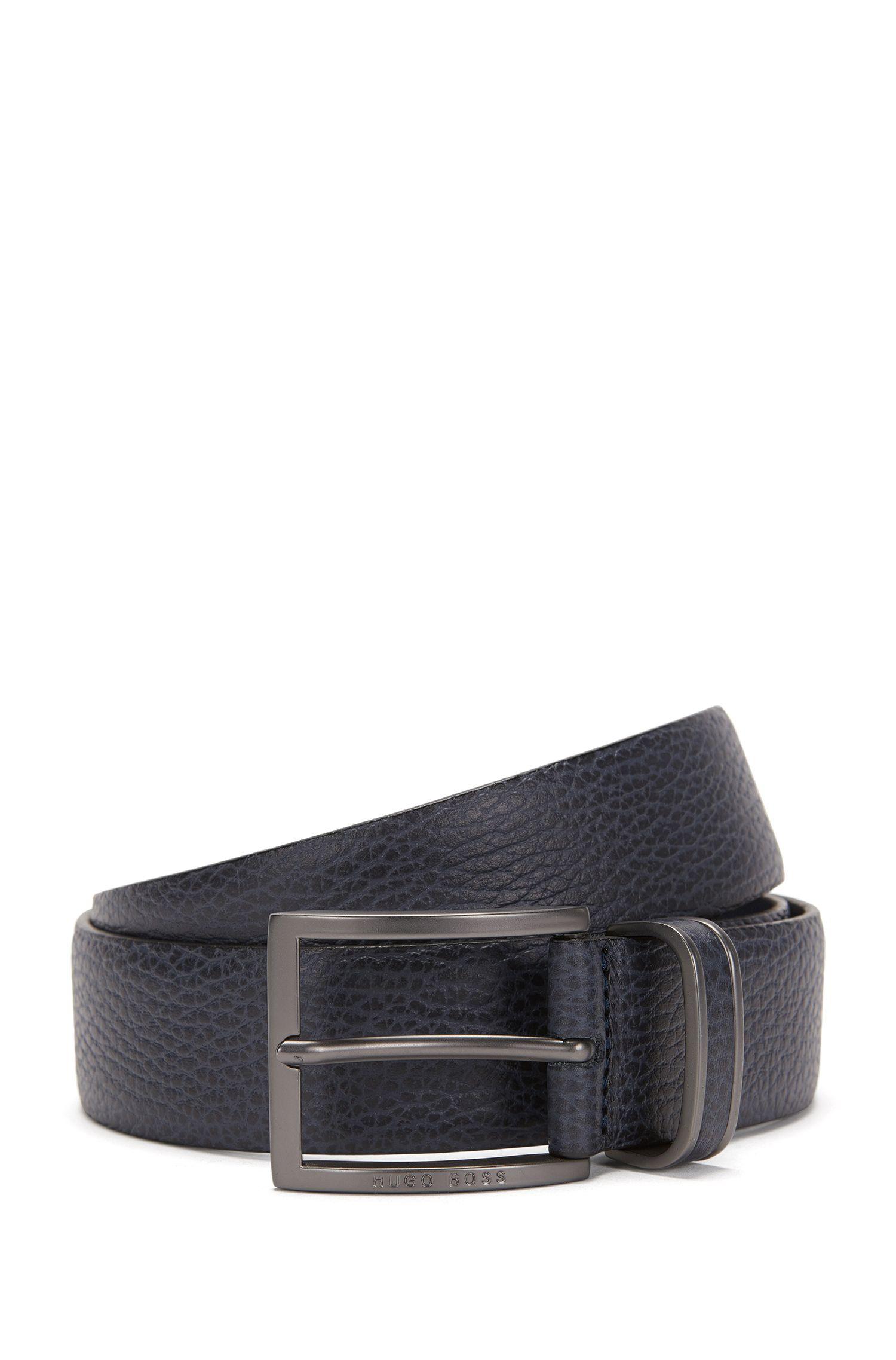 Cinturón de hebilla en piel granulada, Azul oscuro