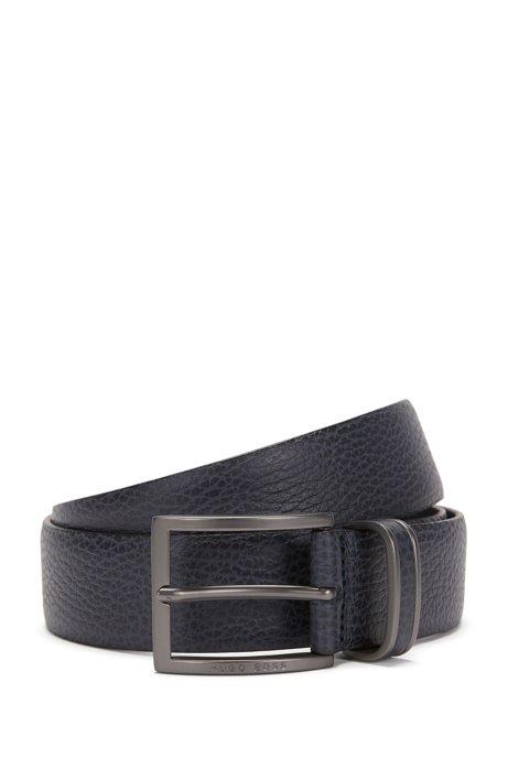 Pin-buckle belt in grained leather, Dark Blue