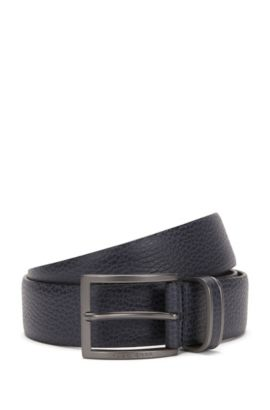Pin-buckle belt in grained leather, Dark Blue
