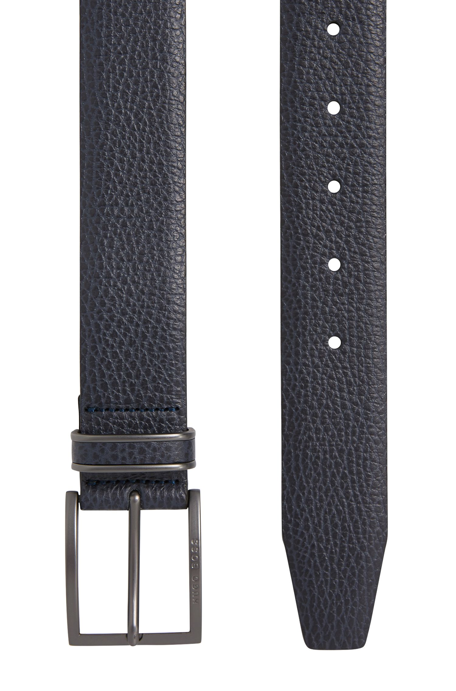 Gürtel aus genarbtem Leder mit Dornschließe, Dunkelblau