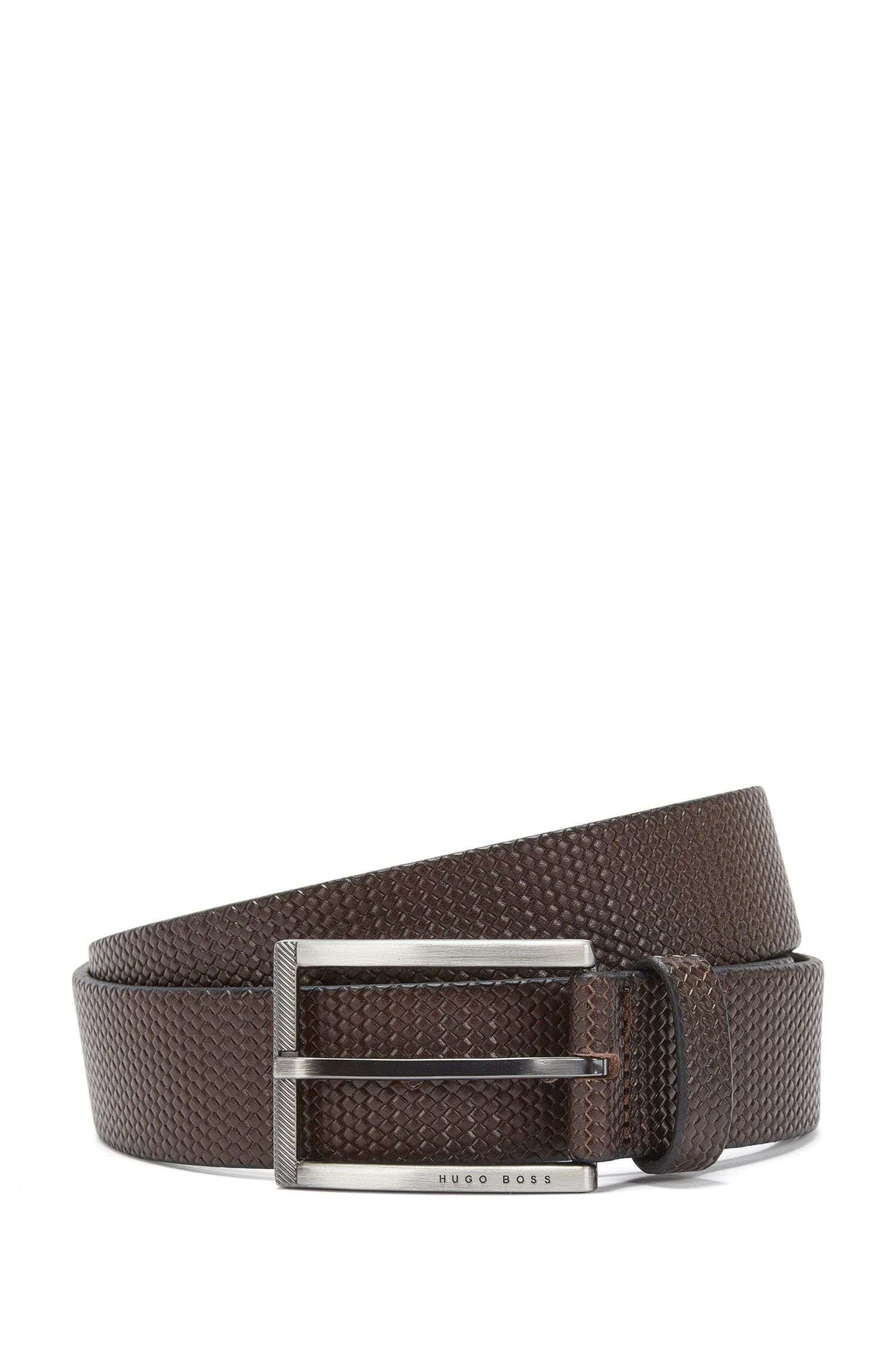 Gürtel aus geprägtem Leder mit filigraner Flechtstruktur: 'Clif_Sz35_ltwv'