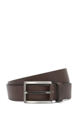 Belt in embossed leather with an intricate braided texture: 'Clif_Sz35_ltwv', Dark Brown