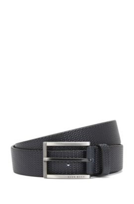 Belt in embossed leather with an intricate braided texture: 'Clif_Sz35_ltwv', Dark Blue