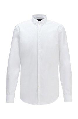 Slim-Fit Smoking-Hemd aus bügelleichter Baumwolle mit Kläppchenkragen, Weiß