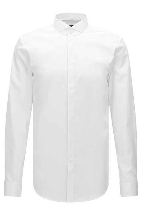 46fbcdf12 Slim-fit business shirt in pure cotton, White