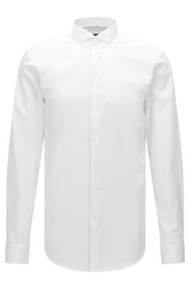Camisa business slim fit en puro algodón, Blanco