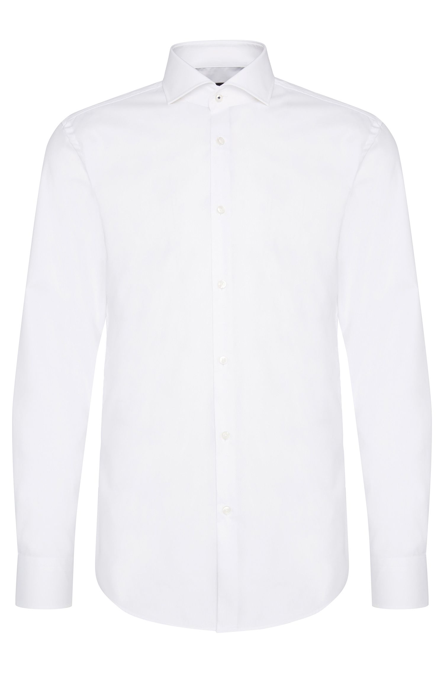 Plain slim-fit cotton shirt: 'Jerrin'