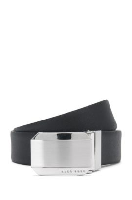 Wendegürtel aus Leder mit Verschluss in gebürsteter Optik: 'Otello_Or35_ps', Schwarz