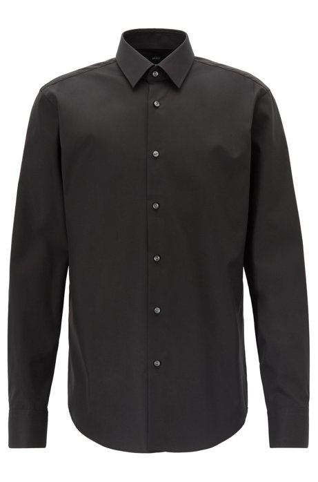Regular-fit business shirt in pure cotton, Black