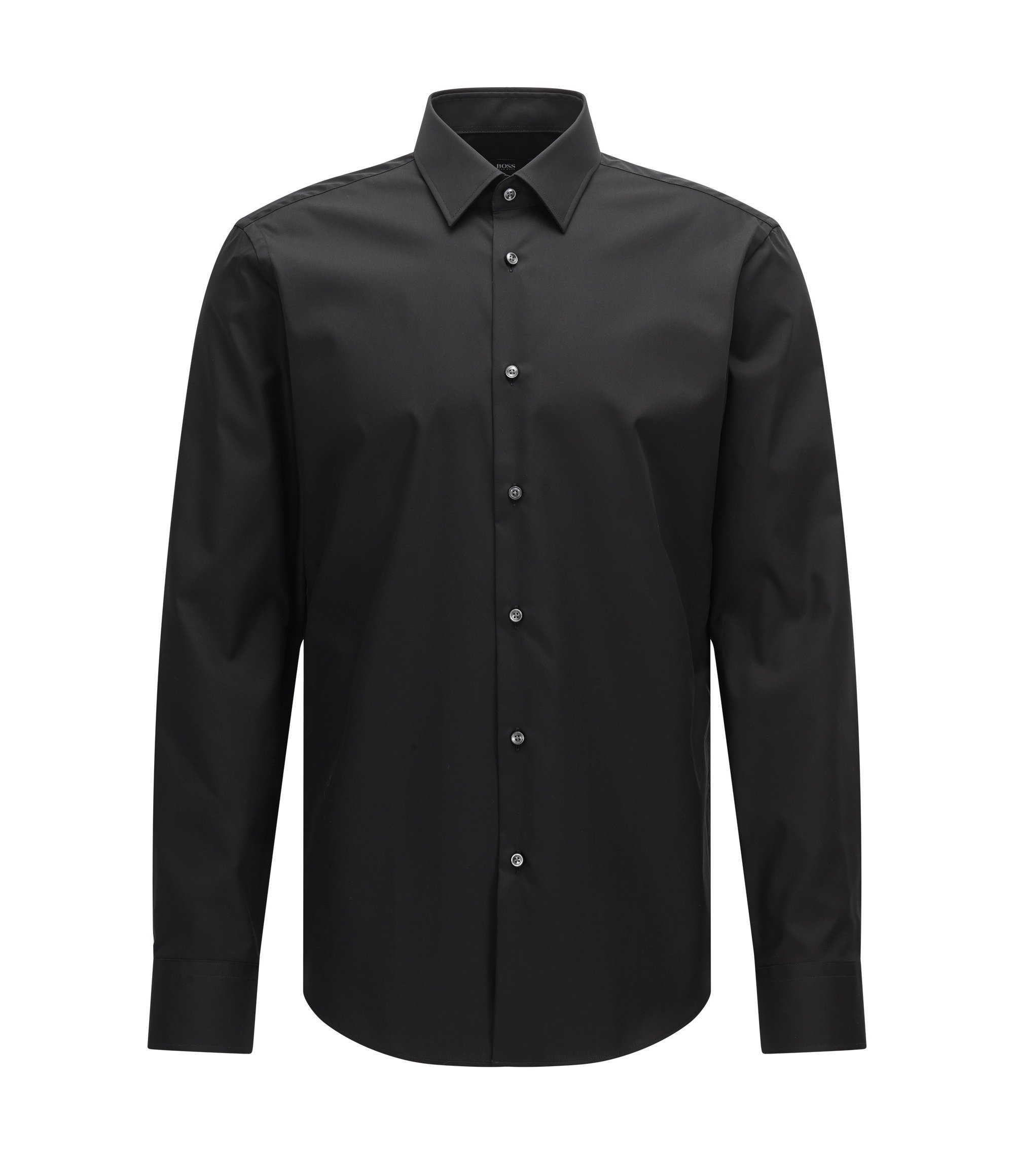 Camicia business regular fit in puro cotone, Nero